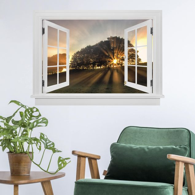 3D Wandtattoo - Offenes Fenster Morgenstimmung mit kleinem Reh