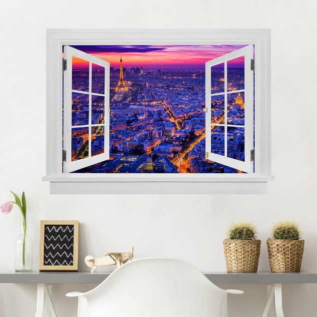 3D Wandtattoo - Offenes Fenster Paris bei Nacht