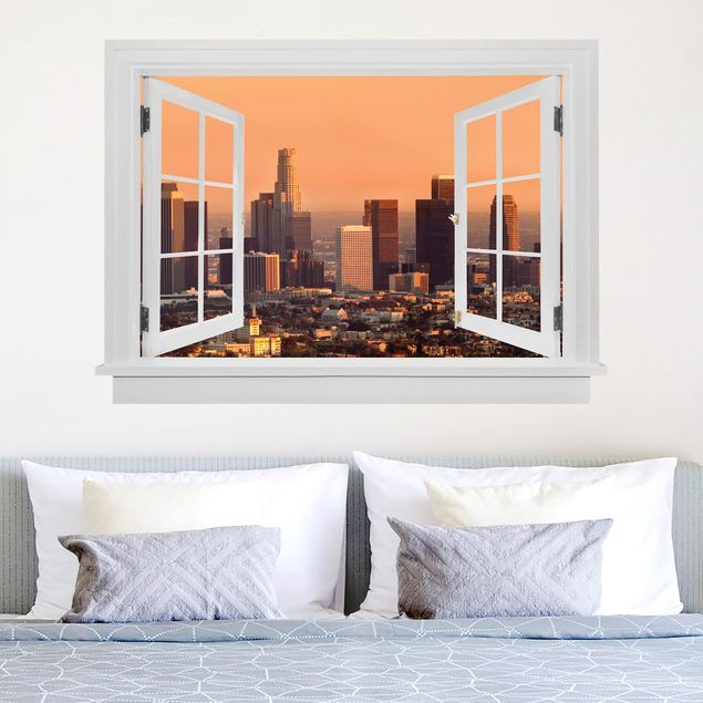 3D Wandtattoo - Offenes Fenster Skyline of Los Angeles