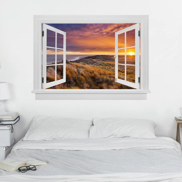 3D Wandtattoo - Offenes Fenster Sonnenaufgang am Strand auf Sylt