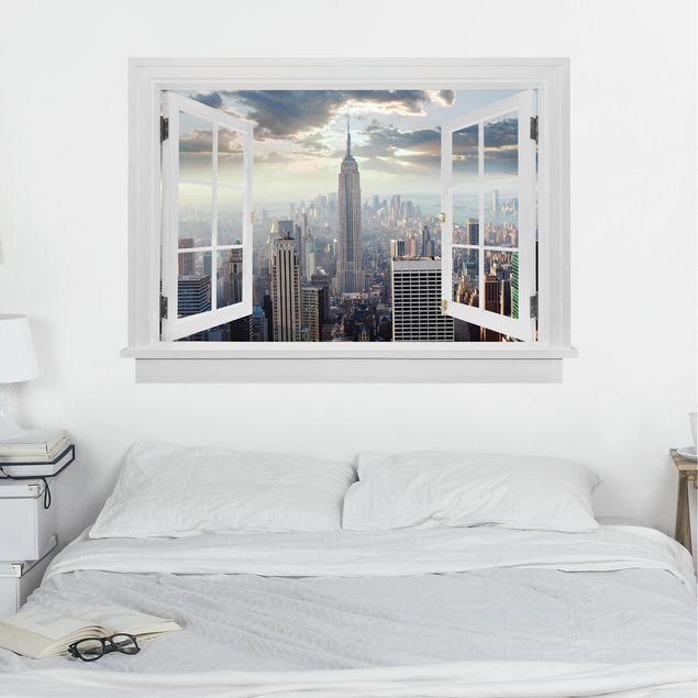 3D Wandtattoo - Offenes Fenster Sonnenaufgang in New York