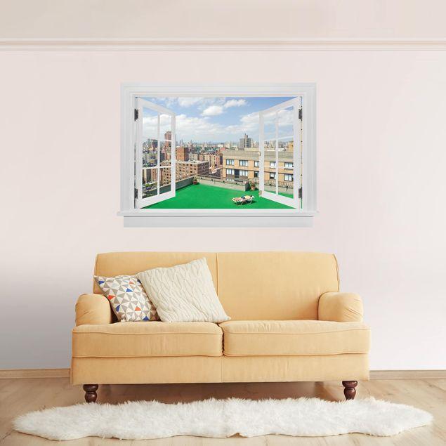 3D Wandtattoo - Offenes Fenster Stadt Strand in New York