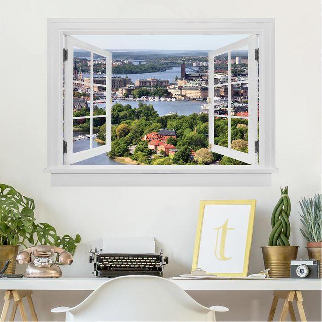 3D Wandtattoo - Offenes Fenster Stockholm City