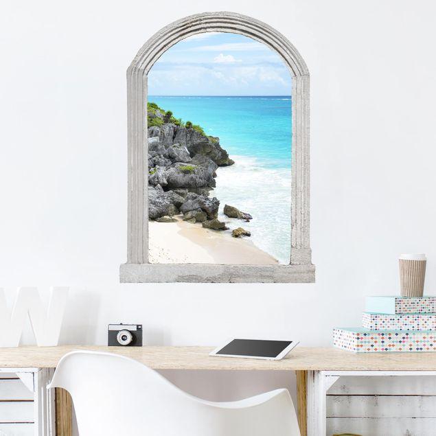 3D Wandtattoo - Steinbogen Karibikküste Tulum Ruinen