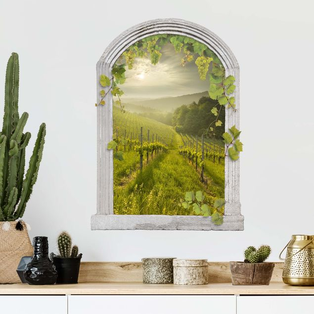 3D Wandtattoo - Steinbogen Sonnenstrahlen Weinberg mit Ranken