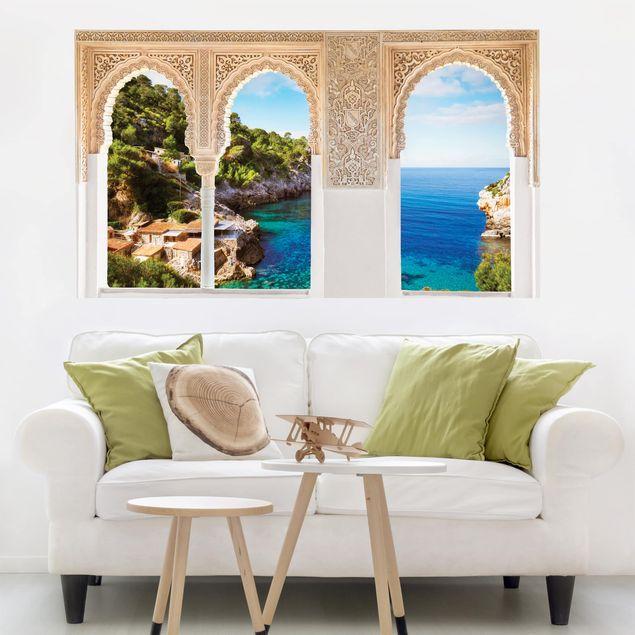 3D Wandtattoo - Verzierte Fenster Cala de Deia in Mallorca