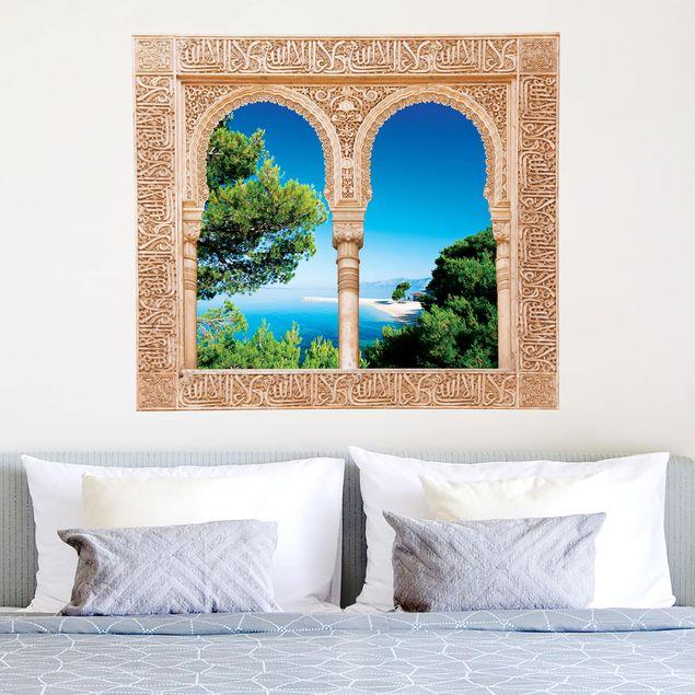 3D Wandtattoo - Verziertes Fenster Hidden Paradise