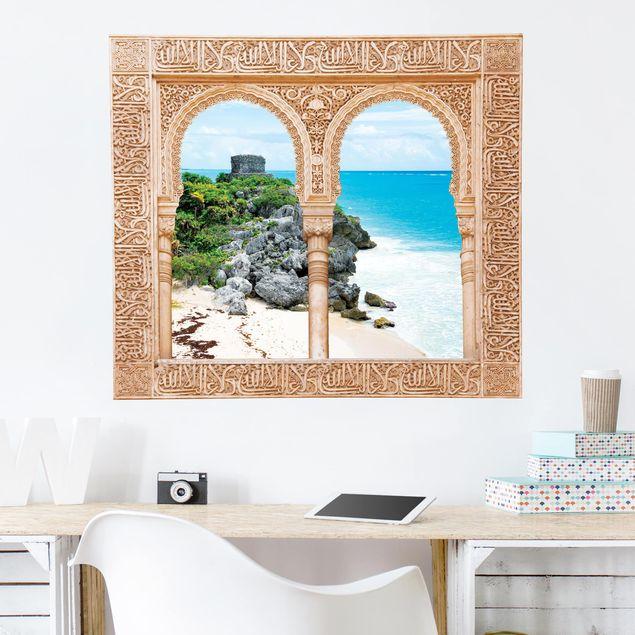 3D Wandtattoo - Verziertes Fenster Karibikküste Tulum Ruinen