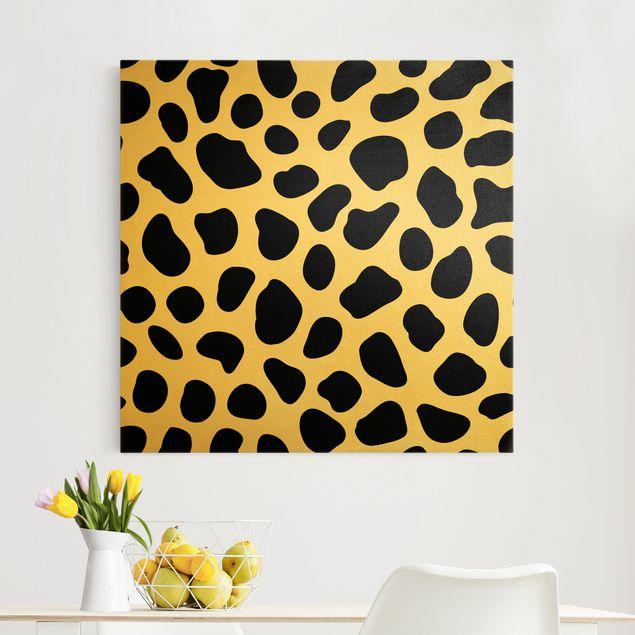 Leinwandbild Gold - Geparden Print - Quadrat 1:1