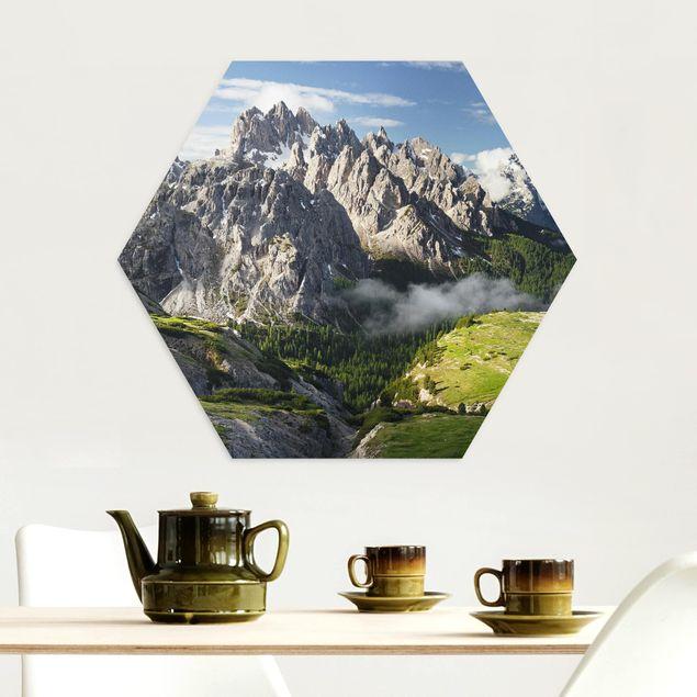Hexagon Bild Alu-Dibond - Italienische Alpen