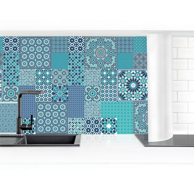 Küchenrückwand - Marokkanische Mosaikfliesen türkis blau