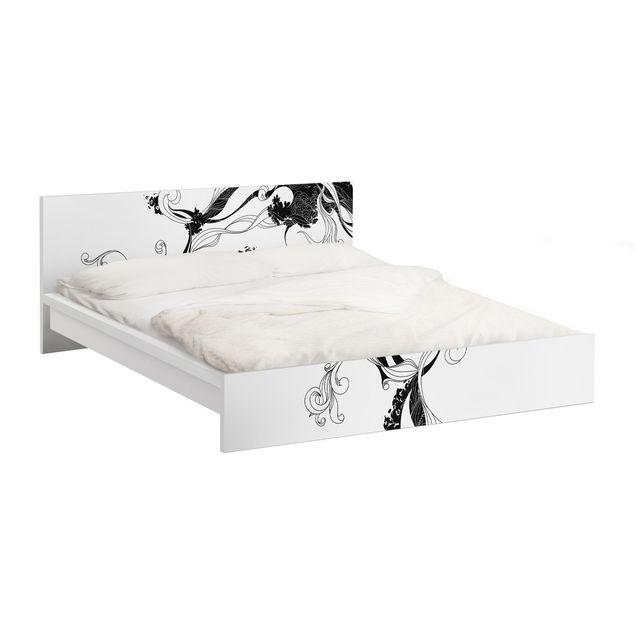 Möbelfolie für IKEA Malm Bett niedrig 180x200cm - Klebefolie Ranke in Tusche
