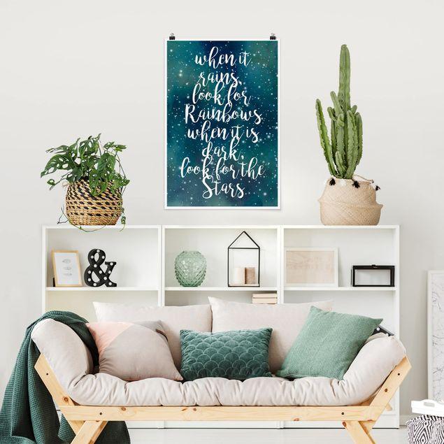 Poster - Sternenhimmel Regenbogen - Hochformat 3:2