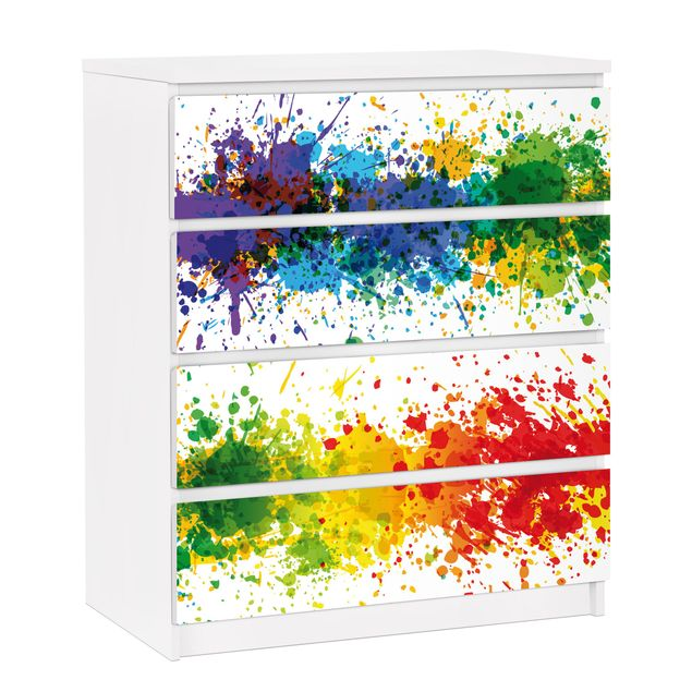 Möbelfolie für IKEA Malm Kommode - selbstklebende Folie Rainbow Splatter