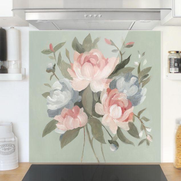 Glas Spritzschutz - Bouquet in Pastell I - Quadrat - 1:1