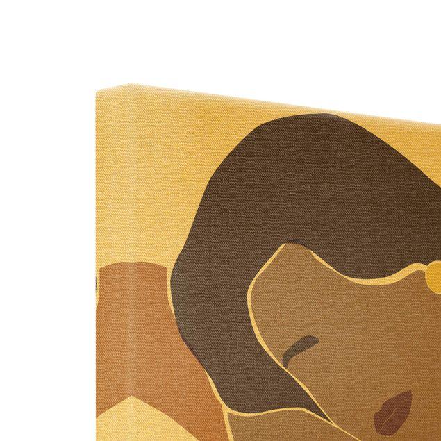 Leinwandbild Gold - Line Art Frau Braun Beige - Quadrat 1:1