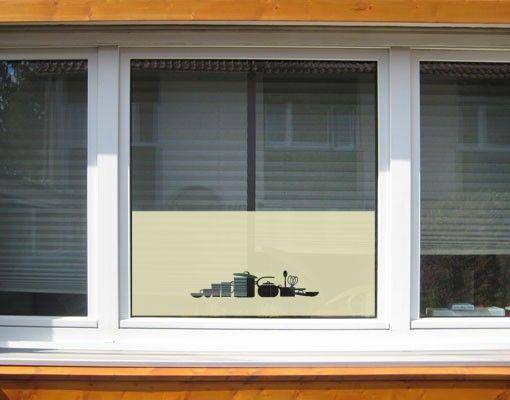 Fensterfolie - Sichtschutzfolie No.UL936 Geschirr I - Milchglasfolie
