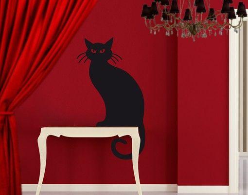Wandtattoo Katze No.EV15 Chat Noir