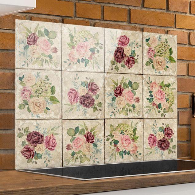 Glas Spritzschutz - Vintage Rosen und Hortensien - Querformat - 4:3