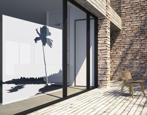 Fensterfolie - Fenstertattoo No.UL945 Palmenstrand - Milchglasfolie
