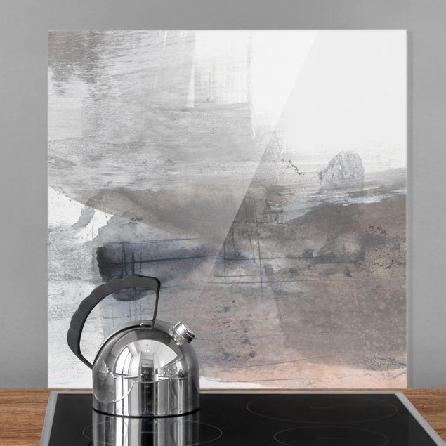 Glas Spritzschutz - Schattierungen in Sepia II - Quadrat - 1:1