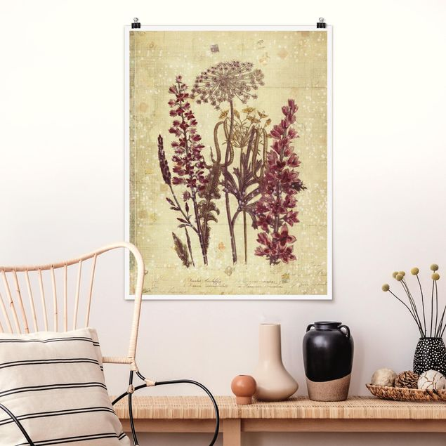 Poster - Vintage Leinenoptik Blumen - Hochformat 3:4