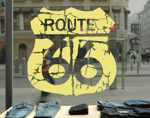 Fensterfolie - Fenstertattoo No.EK165 Route 66 II - Milchglasfolie