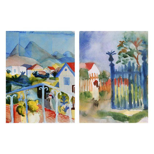 Leinwandbild 2-teilig - August Macke - Saint Germain und Gartentor - Hoch 3:4
