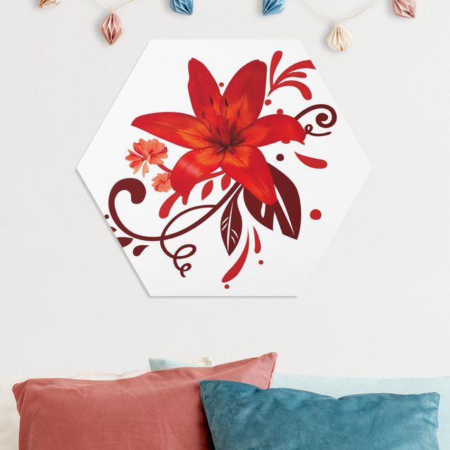 Hexagon Bild Forex - No.BP7 Lilientraum red