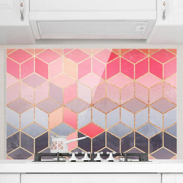 Spritzschutz Glas - Buntes Pastell goldene Geometrie - Querformat 2:3