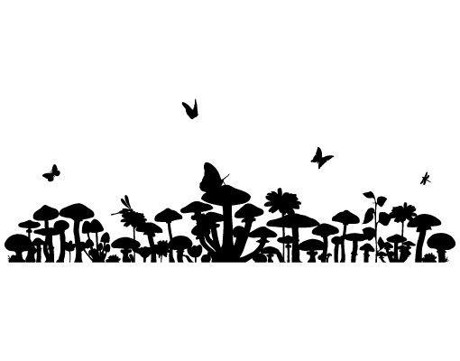 Wandtattoo Kinderzimmer Wald Schmetterling No.JS88 Pilzparadies
