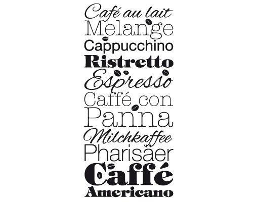 Wandtattoo Kaffee Schlagworte - No.EV64 Kaffeespezialitäten
