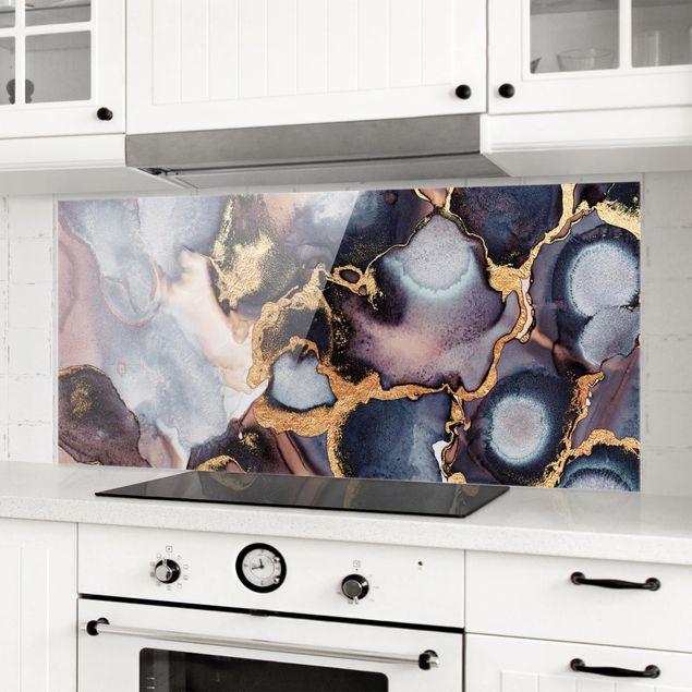 Spritzschutz Glas - Marmor Aquarell mit Gold - Panorama