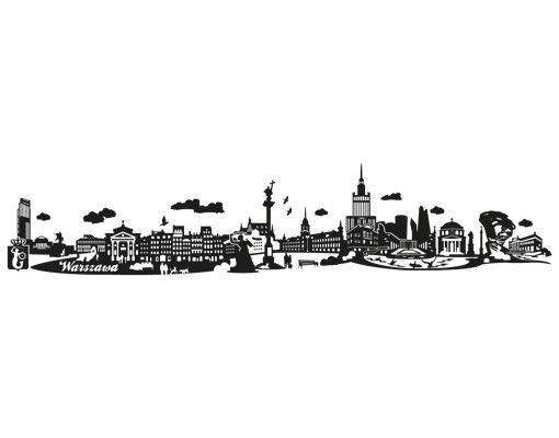 Stadt Warschau - Wandtattoo Skyline - No.JR41 Warschau polnisch Skyline