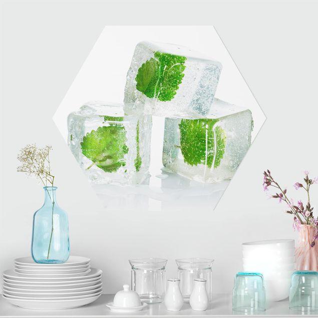 Hexagon Bild Forex - Drei Eiswürfel mit Melisse