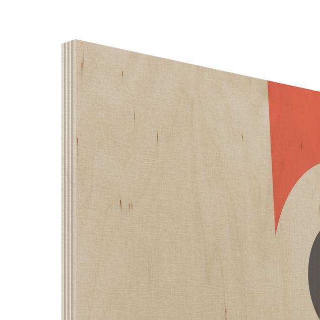 Holzbild - Abstrakte Formen - Blume Rot - Hochformat 3:2