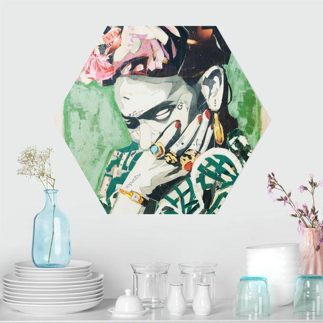 Hexagon Bild Alu-Dibond - Frida Kahlo - Collage No.3