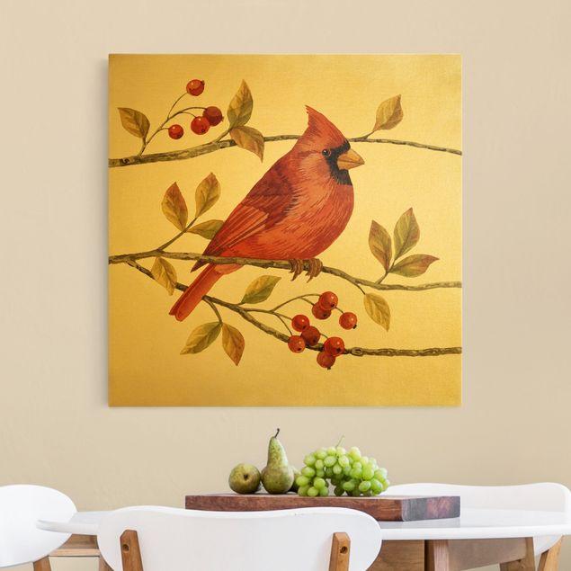 Leinwandbild Gold - Vögel und Beeren - Rotkardinal - Quadrat 1:1