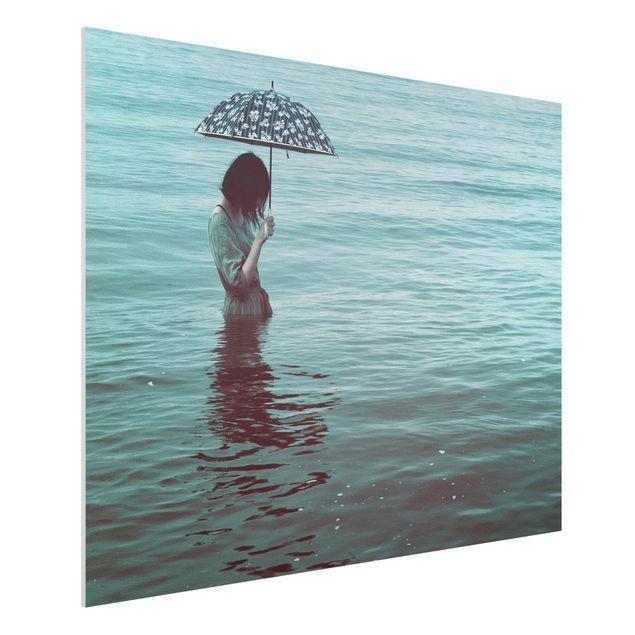 Forex Fine Art Print - Spaziergang im Wasser - Querformat 3:4