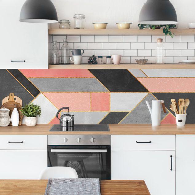 Küchenrückwand - Geometrie Rosa und Gold