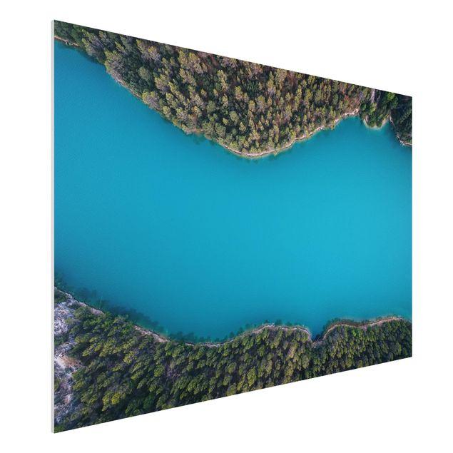 Forex Fine Art Print - Luftbild - Tiefblauer See - Querformat 2:3