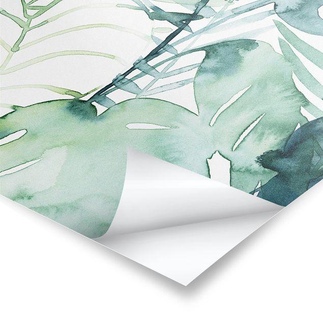 Poster - Palmwedel in Wasserfarbe II - Hochformat 3:4
