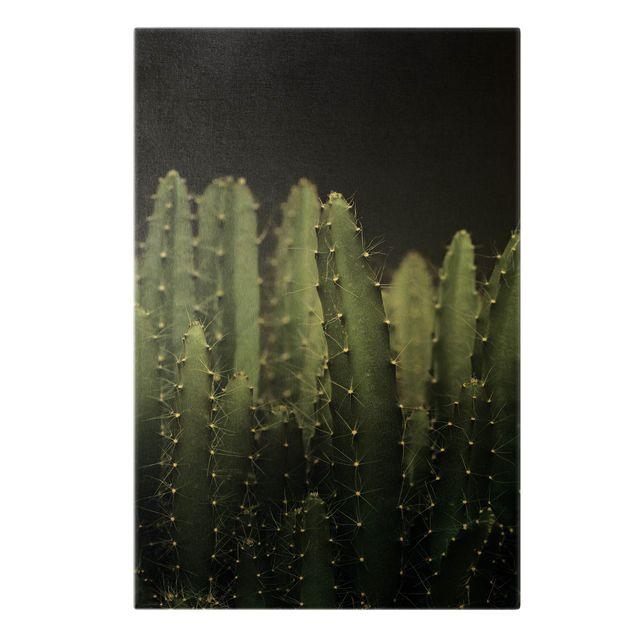 Leinwandbild Gold - Wüstenkaktus bei Nacht - Hochformat 2:3