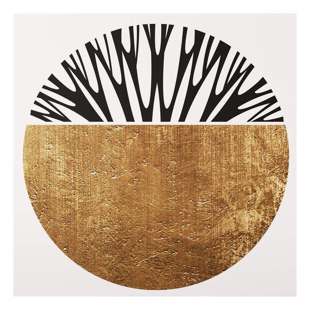 Forex Fine Art Print - Abstrakte Formen - Goldener Kreis - Quadrat 1:1