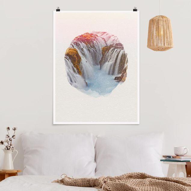 Poster - Wasserfarben - Brúarfoss Wasserfall in Island - Hochformat 4:3