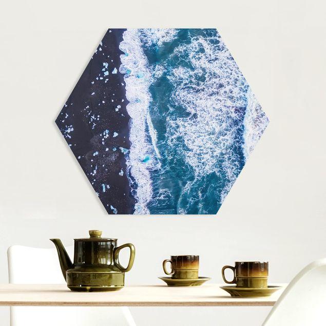 Hexagon Bild Forex - Luftbild - Jökulsárlón in Island vertikal