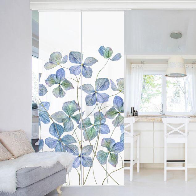 Schiebegardinen Set - Blaue Hortensienblüten - Flächenvorhang