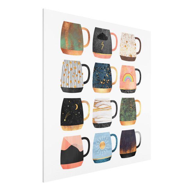 Forex Fine Art Print - Lieblingstassen mit Gold - Quadrat 1:1