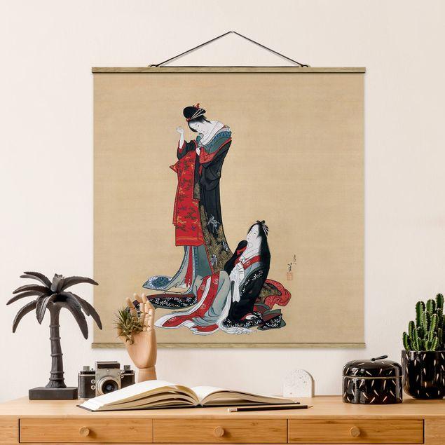 Stoffbild mit Posterleisten - Katsushika Hokusai - Zwei Kurtisanen - Quadrat 1:1