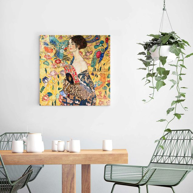 Glasbild - Gustav Klimt - Dame mit Fächer - Quadrat 1:1
